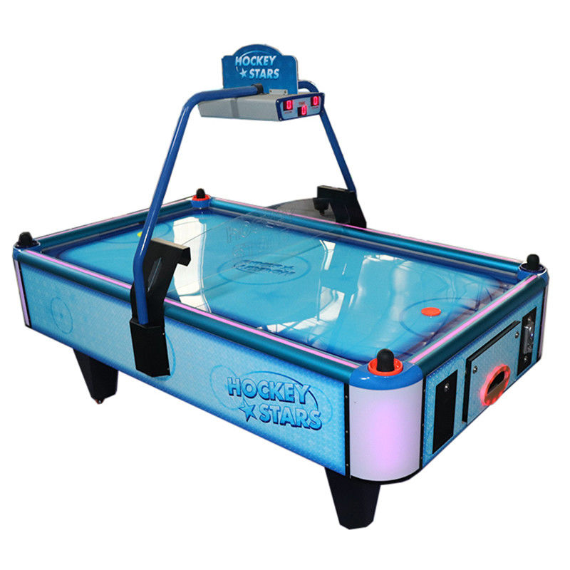 Electronic Coin Operated Air Hockey Table Two Players Metal Acrylic Material